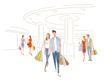 イラスト素材:ショッピング、買い物をする人々