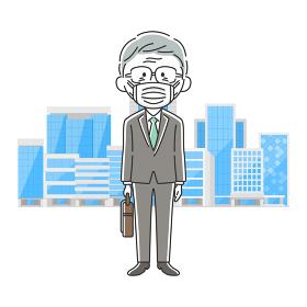 鞄を持ったマスクをした年配の日本人ビジネスマン