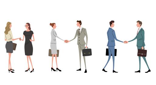 イラスト素材:ビジネスシーン、握手