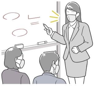 マスクで会議中、ホワイトボードの前で説明する、若い女性