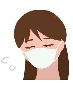 マスクをして苦しそうな女の人
