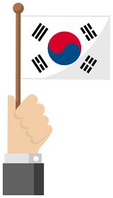 手持ち国旗イラスト ( 愛国心・イベント・お祝い・デモ ) / 韓国・大韓民国
