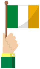 手持ち国旗イラスト ( 愛国心・イベント・お祝い・デモ ) / アイルランド