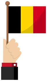 手持ち国旗イラスト ( 愛国心・イベント・お祝い・デモ ) / ベルギー