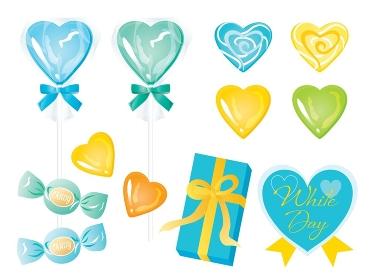 青や黄色のホワイトデーのキャンディーとリボンつきの箱のセット