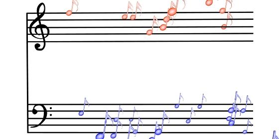 楽譜の上の可愛い音符、3Dレンダリング