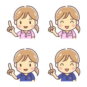 「指をさすポロシャツの女性」のデフォルメイラスト(介護福祉士・イベントスタッフなど)