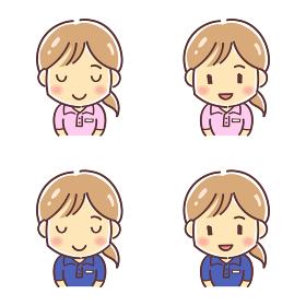 「お辞儀をするポロシャツの女性」のデフォルメイラスト(介護福祉士・イベントスタッフなど)