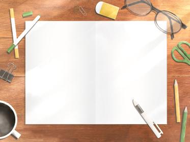 ノートを広げた木製のデスク(ヨコ)