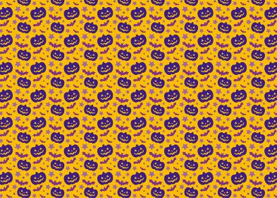【パターン素材】ハロウィンのお化けカボチャの背景【ベクター】