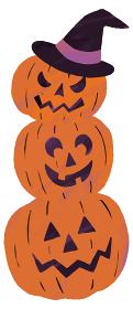 ジャックオーランタン おばけかぼちゃ かぼちゃ 3つ ハロウィン イラスト