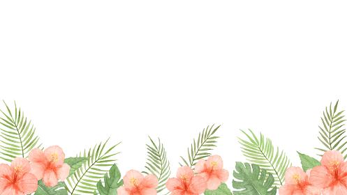 透明水彩で描いた夏の植物のフレーム ハイビスカスとモンステラとヤシの葉
