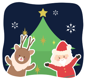 サンタクロースとトナカイとクリスマスツリーのイラスト