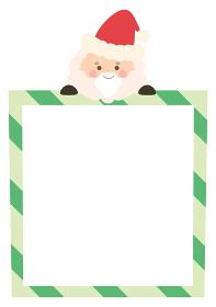 サンタクロースが上に乗っているクリスマスのフレームイラスト