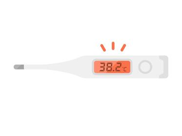 高熱が表示された体温計のイラスト