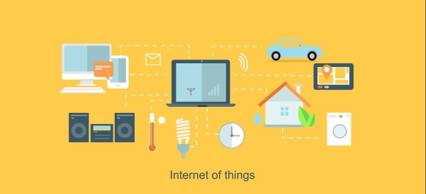 Internet of things icon flat design. Network and iot technology, web and smart home, mobile digital, wireless connect, communication equipment illustration