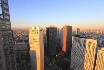 新宿副都心高層ビル群俯瞰夕景