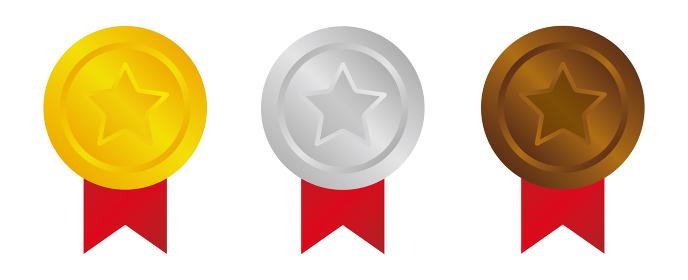 メダルアイコン セット 金・銀・銅メダル