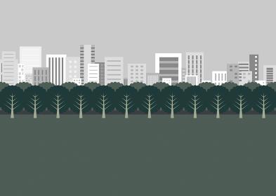 曇り空と公園と街並み イラスト