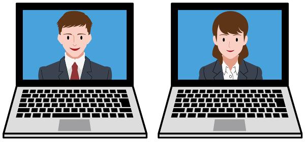 ノートパソコン、オンライン会議をするビジネスマンとビジネスウーマン、セット