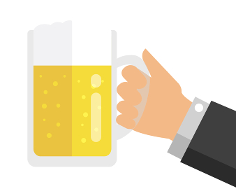 ビール・アルコール 手持ちイラスト (乾杯・宴会・飲み会)