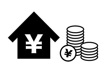 日本円記号と住宅 ベクターイラスト