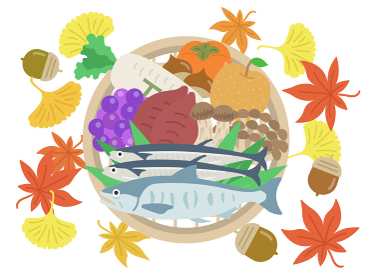 ザルにのせた秋の食材のイラストセット タイトル変更