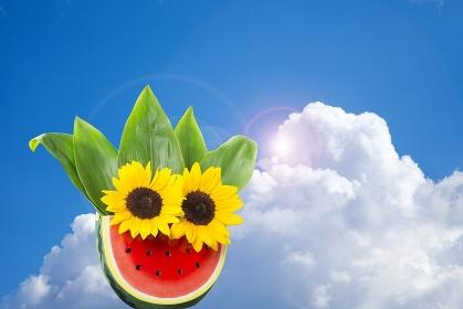 向日葵とスイカの暑中見舞い