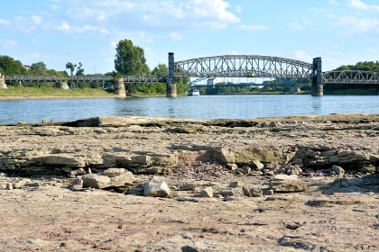 domfelsen in the dry riverbed of the elbe near magdeburg