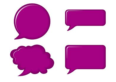 立体レリーフ状の漫画の吹き出し(紫)|バルーン ベクターデータ Speech balloon