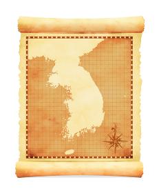 色褪せて丸まった古地図ベクターイラスト / 韓国