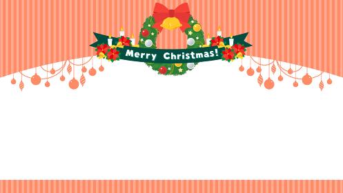 リースとポインセチアのクリスマスフレーム
