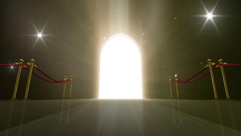 輝かしい未来への扉、天国と成功への道。 3D イラスト