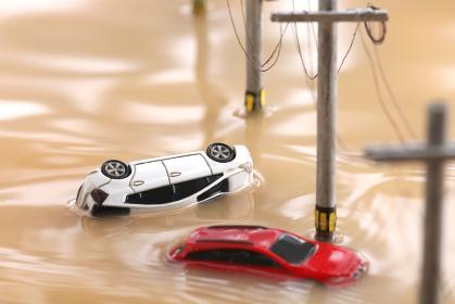 水害で車に取り残された人々のジオラマ