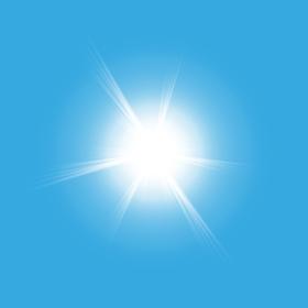 Sun isolated on blue background. Vector illustration