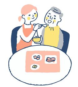 食事の介助をする女性とシニア男性