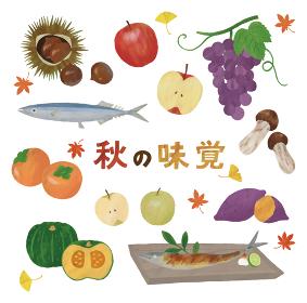 秋の味覚 りんご 栗 さんま 柿 かぼちゃ 梨 ぶどう 松茸 焼き芋 塩焼き イチョウ もみじ