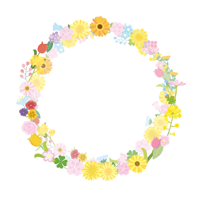 花 花輪 フラワー 春の花 フレーム 枠 イラスト素材