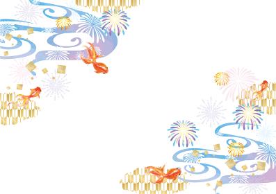 水彩風の金魚と花火の和風背景素材