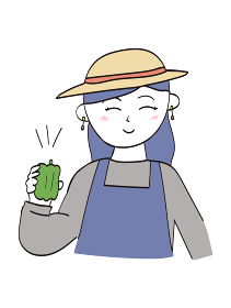 収穫したピーマンを見せる農家のおしゃれな女性(ロングヘア)・1人のイラスト
