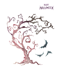ハロウィン ハロウィーン 不気味な木 水彩 イラスト