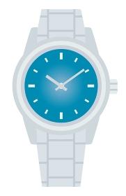 青と銀の腕時計のイラスト
