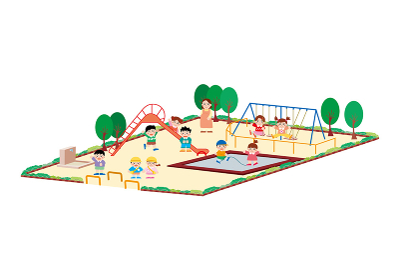 公園の砂場やブランコ、滑り台で遊ぶ園児達