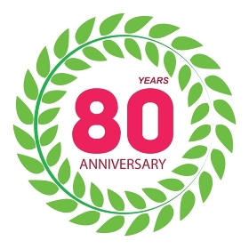 Template Logo 80 Anniversary in Laurel Wreath Vector Illustration EPS10. Template Logo 80 Anniversary in Laurel Wreath Vector Illustratio
