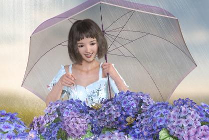 梅雨で雨が降る中傘をさして紫陽花も見てカタツムリを発見する女の子