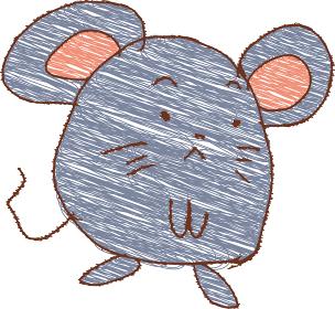 ねずみの落書き 子供の絵 干支 十二支 子年 年賀状素材