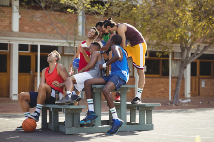 Basketball players taking a selfie
