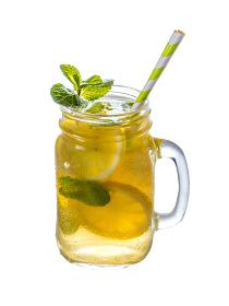 Lemonade with mint in mason jar isolated