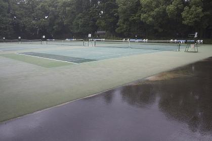 雨に濡れたテニスコート