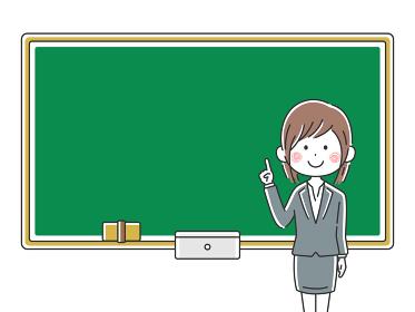 授業をする日本人の女性教師のイラスト